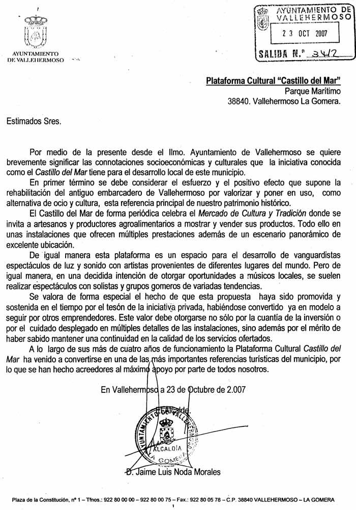 La recomendación por El Castillo del Mar del Ayuntamiento de Vallehermoso